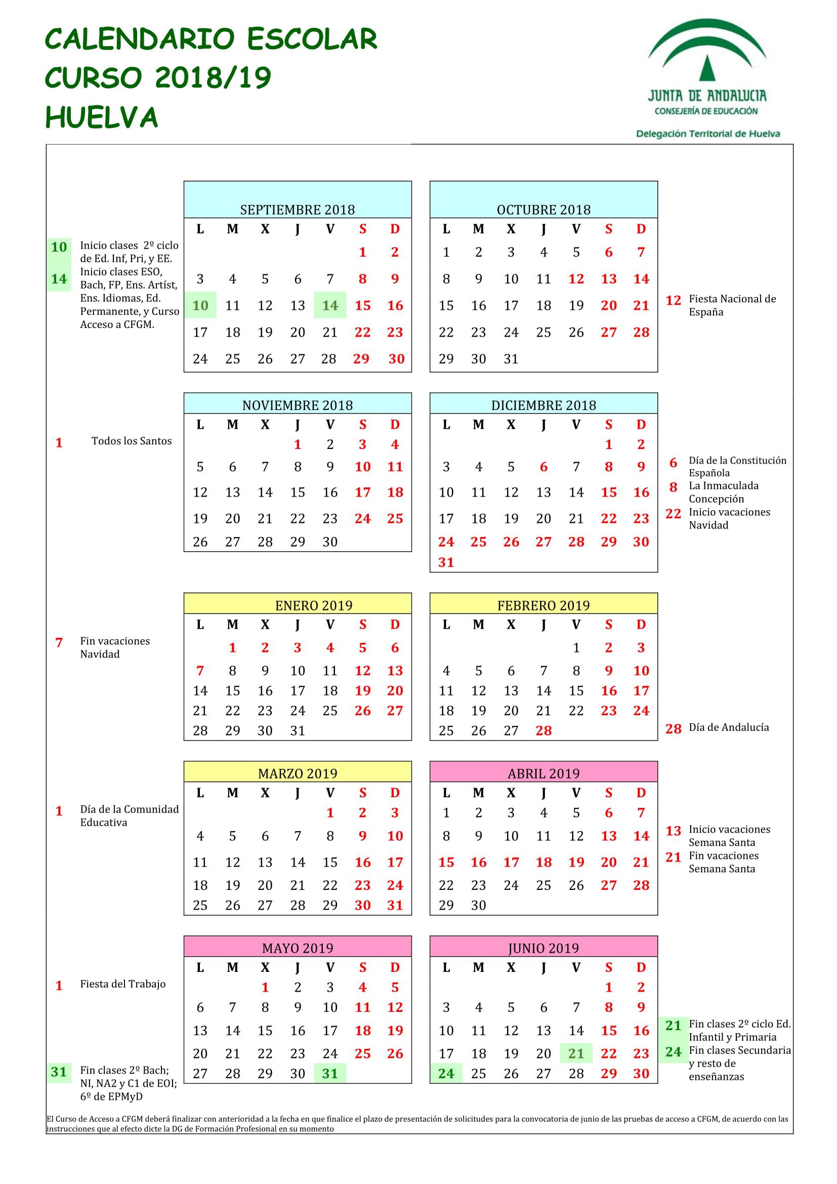 Calendario Escolar Huelva.Calendario Escolar Ceip Garcia Lorca Huelva